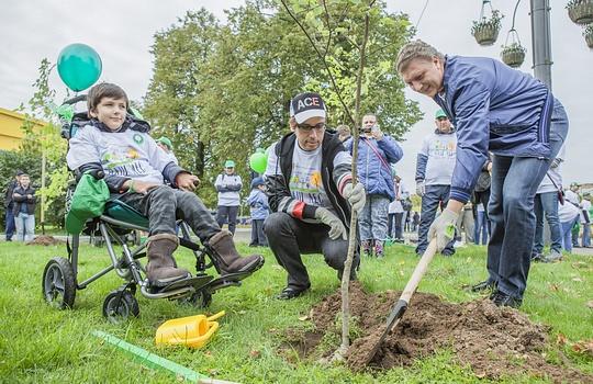 Аллею «Город безбарьеров» высадили вОдинцово наакции «Наш лес. Посади своё дерево»