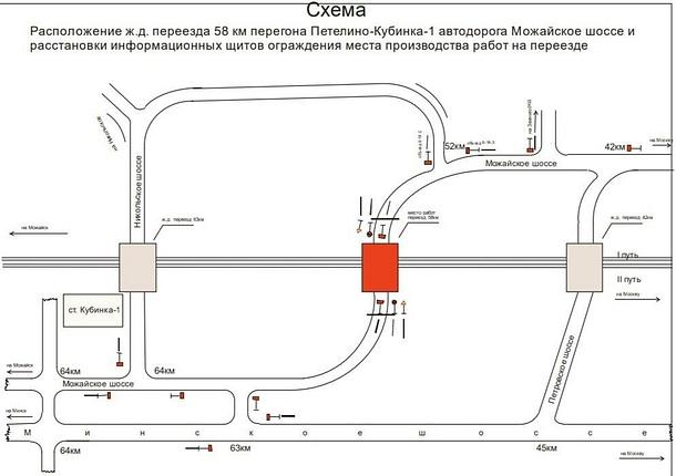 Со2июля 8:00по4июля 18:00будут производиться ремонтные работы сзакрытием движения транспортных средств черезжелезнодорожный переезд 58км перегона Петелино-Кубинка-1, Июнь