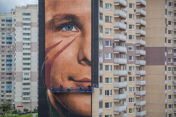 Самое большое вРоссии граффити сЮрием Гагариным появилось вОдинцово, Август